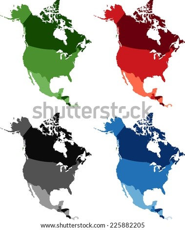 Highly Detailed North America political map in four different color. - stock vector