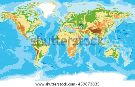 Highly detailed physical map of the world,in vector format,with all the relief forms.