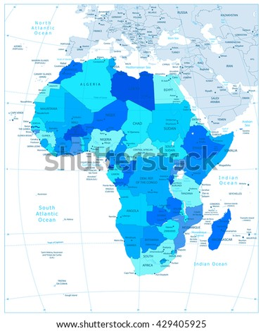 Highly detailed political map of Africa in blue colors with separated layers. - stock vector
