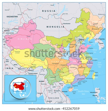 Highly detailed political map of China with roads, railroads and water objects. All elements are separated in editable layers clearly labeled. - stock vector