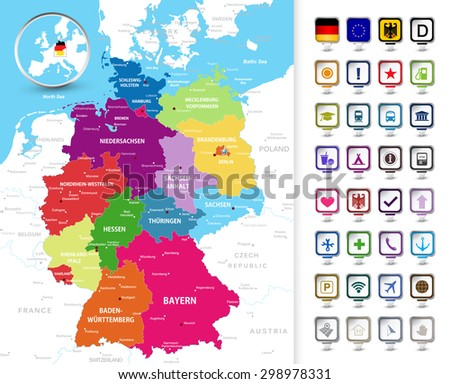 Highly Detailed Political Map Of Germany With Its Federal States Contours,  Cities And 3D Pin