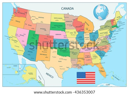 highly detailed political map of the usa including alaska and hawaii
