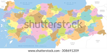 Highly detailed political map of Turkey, vector.  - stock vector