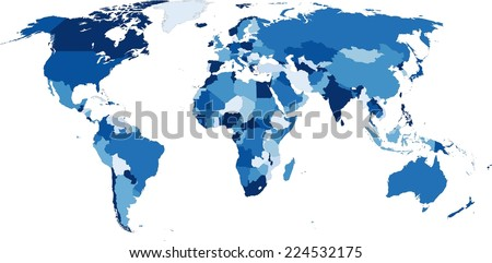 Highly detailed political World map in blue shades. Vector illustration - stock vector