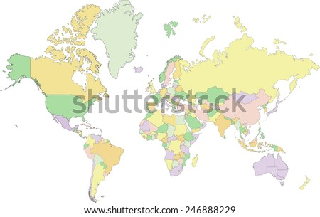 Map projection stock images royalty free images vectors highly detailed political world map vector illustration gumiabroncs Images