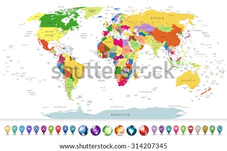 Highly detailed political world map with a 3D globes and navigation icons.