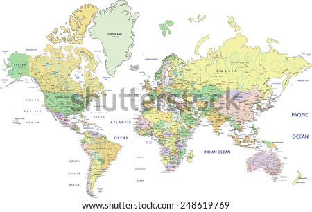 Highly detailed political World map with labeling. Vector illustration. - stock vector