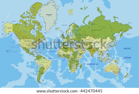 Physical map world stock vector 340703711 shutterstock highly detailed political world map with labeling vector illustration gumiabroncs Gallery