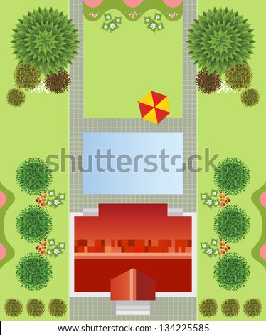 Highly detailed regular garden plan - stock vector