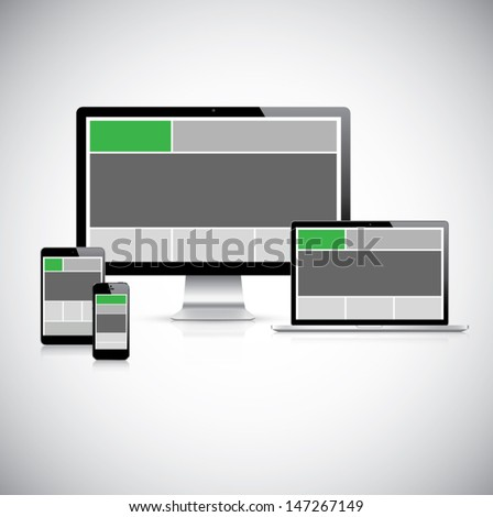 Highly detailed responsive web design concept vector - stock vector