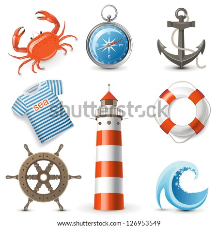 Highly detailed sea icons set - stock vector