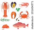 Highly detailed seafood icons set - stock vector