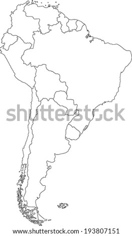 Highly Detailed South America Blind Map. - stock vector