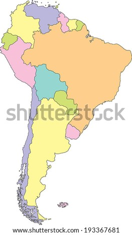 Highly Detailed South America Political Map. - stock vector