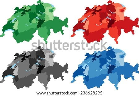 Highly Detailed Switzerland political map in four different color. Isolated, editable. - stock vector