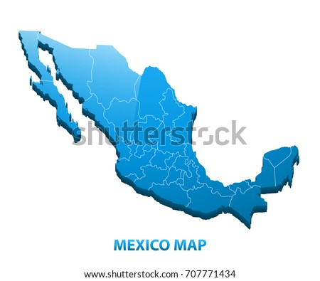 Highly Detailed Three Dimensional Map Mexico Stock Vector 707771434