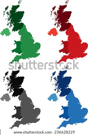 Highly Detailed United Kingdom political map in four different color. Isolated, editable. - stock vector