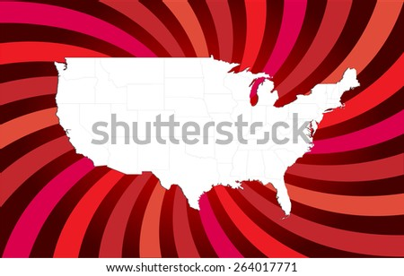 Highly Detailed United States Map - All States Separable by borders - Vector Illustration - stock vector