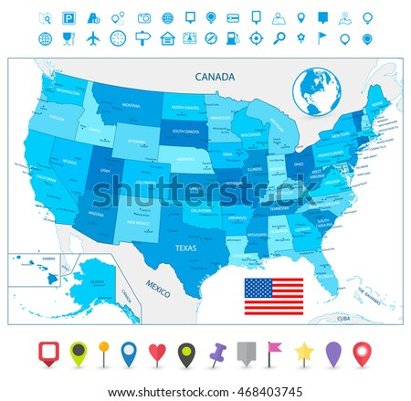 Highly detailed USA map in colors of blue with navigation icons isolated on white.