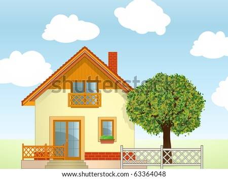 Highly detailed vector illustration of House and Tree - stock vector