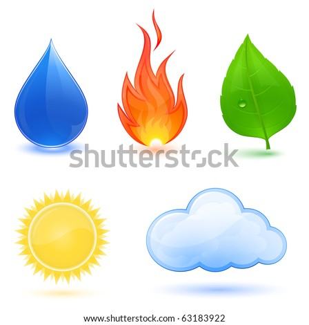 Highly detailed vector illustration of nature symbols.  Blue water drop, red fire, green leaf, sun and cloud. - stock vector