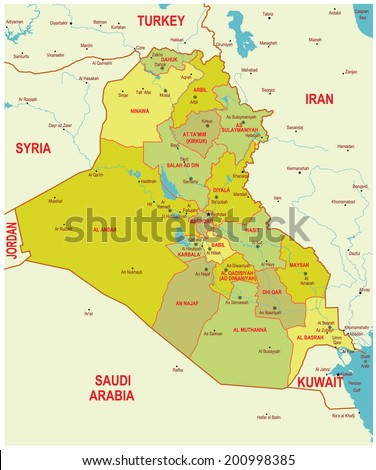 Highly detailed vector map of Iraq.  - stock vector