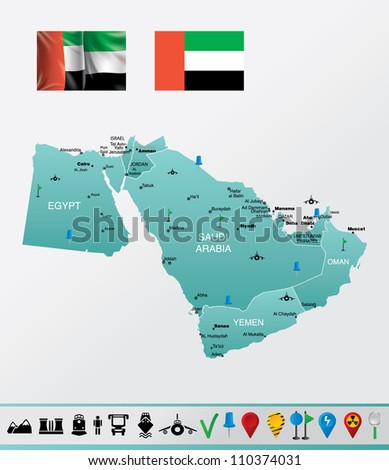 Highly detailed vector map of Middle East with countries, flags, navigation and travel icons EPS 10 file format. - stock vector