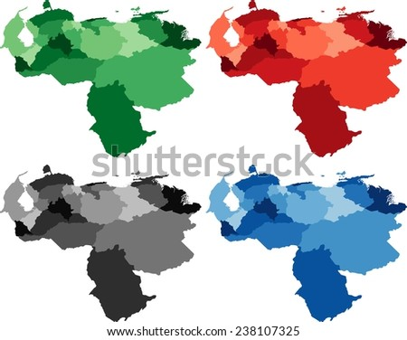 Highly Detailed Venezuela political map in four different color. Isolated, editable. - stock vector