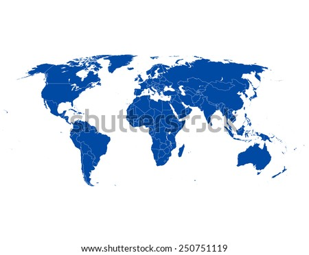 highly detailed world map - stock vector