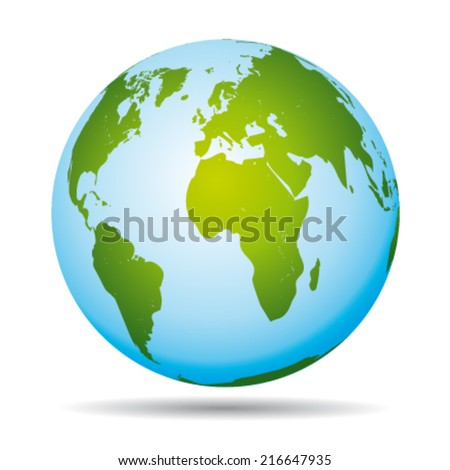 Highly detailed world map. African, american  and european continents. Vector icon. - stock vector
