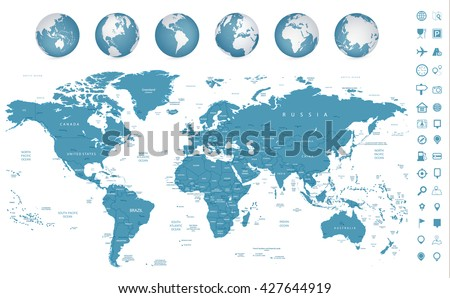 Highly detailed World Map and navigation icons with globes - stock vector