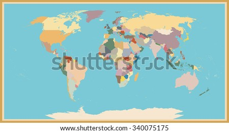 Highly Detailed World Map Blind Vintage Color. - stock vector