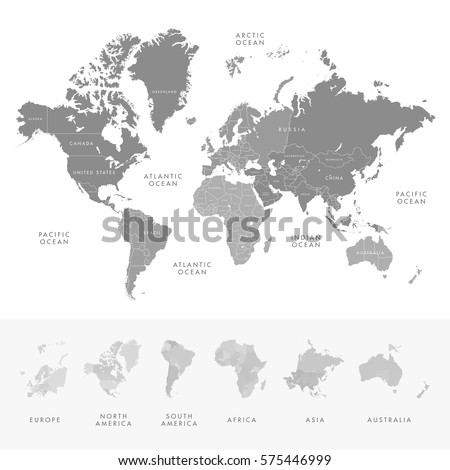 Continent stock images royalty free images vectors shutterstock highly detailed world map continents with labelling of country grayscale vector illustration gumiabroncs Gallery