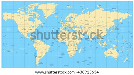 Highly detailed world map countries cities stock vector 438915634 highly detailed world map countries cities water objects all elements are separated gumiabroncs Image collections