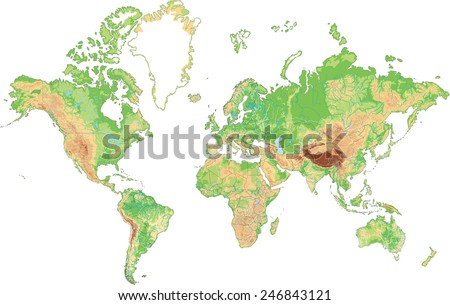 Highly detailed World map. Vector illustration. - stock vector