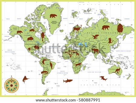 Highly Detailed World Map Countries Animals Stock Vector 580887991 ...