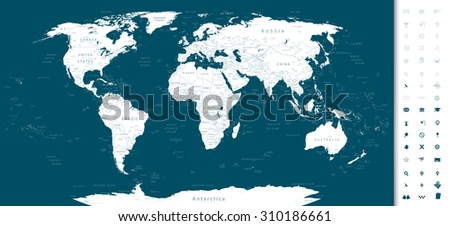 Highly detailed World Map with navy blue color and navigation icons/Navy blue World Map with navigation icons. - stock vector