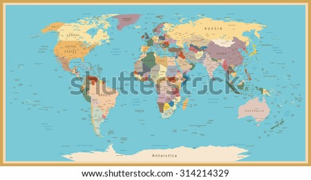 Highly detailed World Map with vintage color. - stock vector