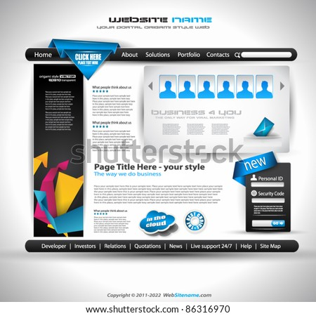 HighTech Website - Elegant Design for Business Presentations. Template with a lot of design elements. Every Shadow is transparent - stock vector