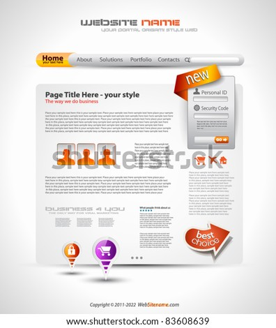 HighTech Website - Elegant Design for Business Presentations with a lot of design elements and a login form. - stock vector