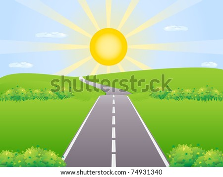 Highway against the backdrop of the rising sun among meadows disappearing over the horizon - stock vector