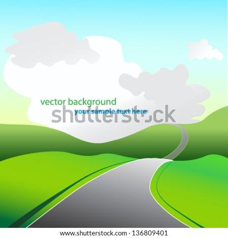 highway going to horizon - stock vector