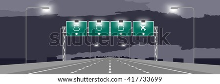 Highway or motorway and green signage at nighttime illustration on dark sky background - stock vector
