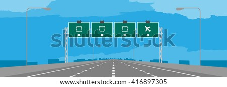Highway or motorway and green signage in daytime illustration on blue sky background - stock vector