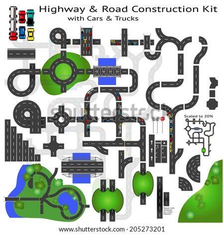 Highway Road construction Kit to Build your own, see my portfolio for other kits  - stock vector