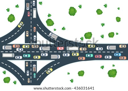 Highway road top view from above with cars, buses and trucks - stock vector