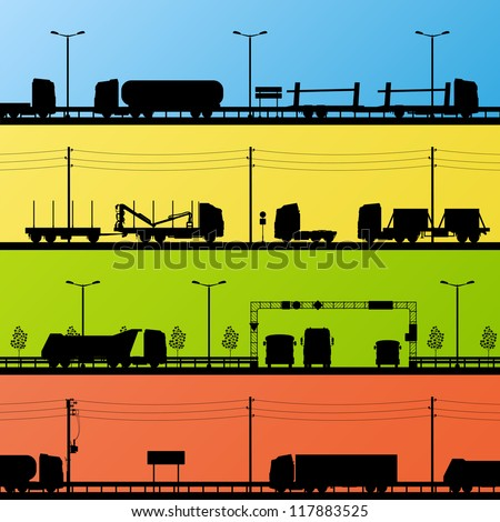 Highway roadway landscape and heavy duty trucks detailed silhouettes illustration collection background vector - stock vector