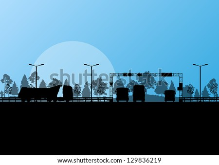 Highway roadway landscape and heavy duty trucks in detailed forest nature background illustration vector - stock vector