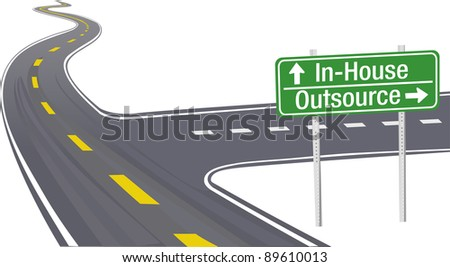 Highway sign as symbol of Outsource InHouse business supply chain decision - stock vector