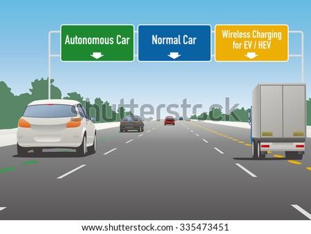 highway sign illustration, autonomous car lane, normal car lane, wireless charging lane - stock vector